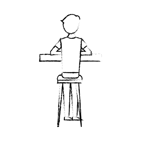 Illustration pour Back view cartoon man sitting on stool and counter vector illustration sketch design - image libre de droit