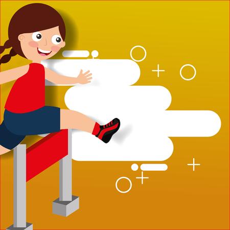 Ilustración de hurdle race little girl jumping over obstacle vector illustration - Imagen libre de derechos