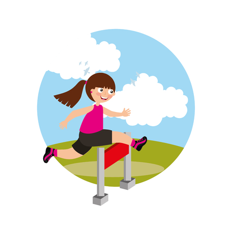 Ilustración de hurdle race little girl jumping over obstacle in landscape background vector illustration - Imagen libre de derechos