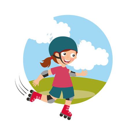 Ilustración de girl riding roller skating with field background vector illustration - Imagen libre de derechos