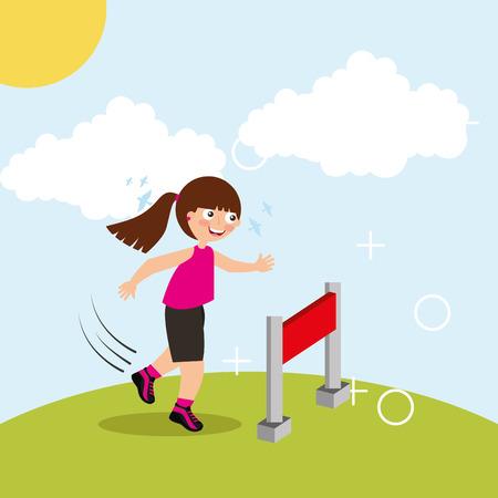 Ilustración de hurdle race little girl jumping over obstacle in landscape vector illustration - Imagen libre de derechos