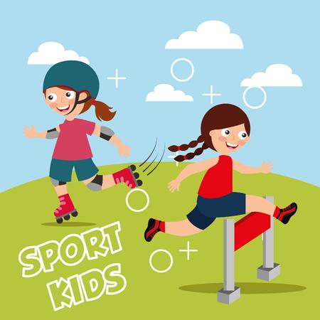 Ilustración de little girl jumping over obstacle race and roller skating sport kids vector illustration - Imagen libre de derechos
