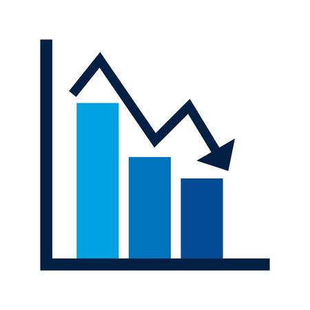 Ilustración de business financial bar graph chart diagram crisis problem vector illustration - Imagen libre de derechos