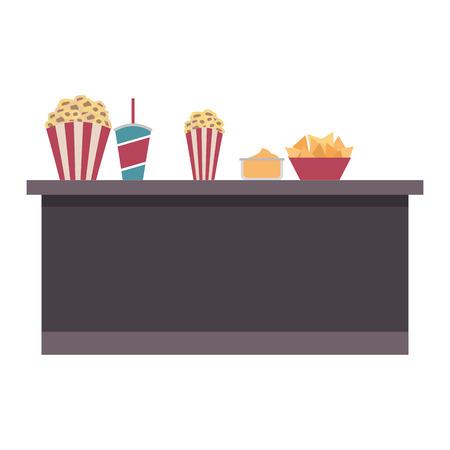 Ilustración de cinema bar counter buckets popcorn soda nachos food vector illustration - Imagen libre de derechos