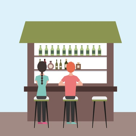 Illustration pour back view cartoon man and woman sitting on stool and counter vector illustration - image libre de droit
