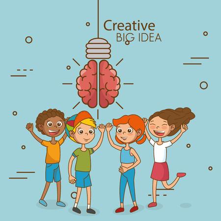 Ilustración de Kids with creative big idea vector illustration design - Imagen libre de derechos