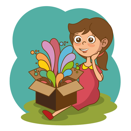 Illustration for Girl with box and creative ideas vector illustration design - Royalty Free Image