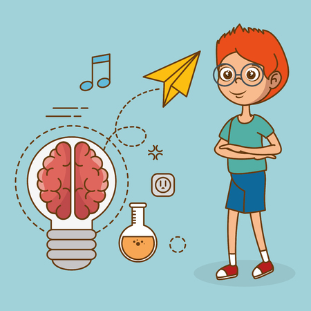 Illustration for boy with creative big idea icons vector illustration design - Royalty Free Image