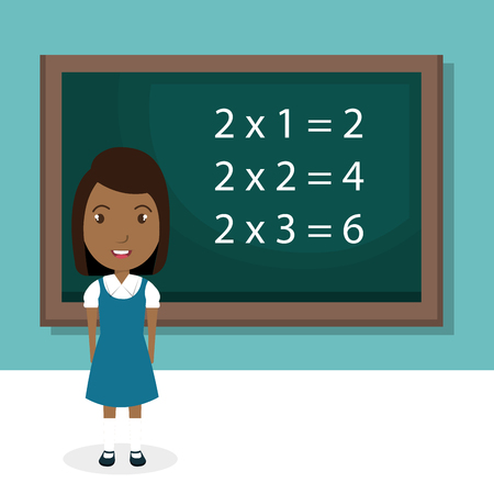 Illustration for african girl with chalkboard classroom character vector illustration design - Royalty Free Image