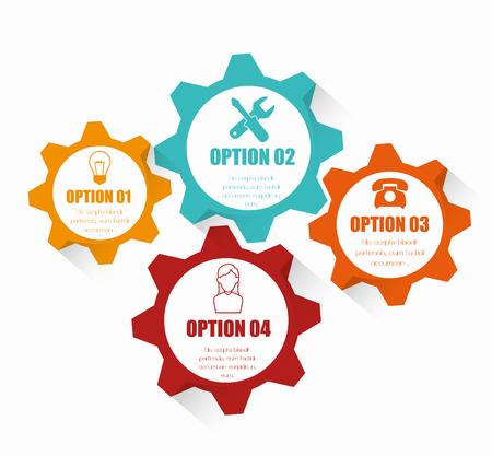 Ilustración de Four colorful gears, cogs or wheels infographic design with icons. - Imagen libre de derechos
