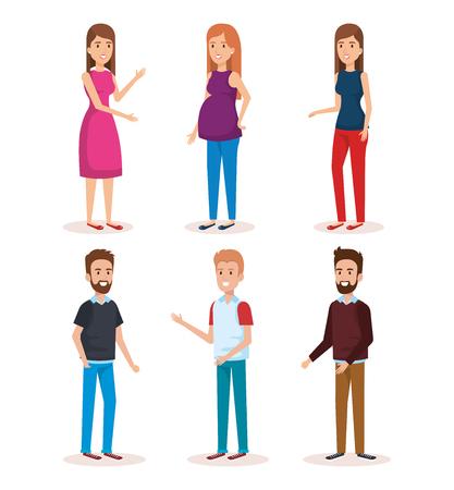 Ilustración de woman pregnacy with group of people avatars characters vector illustration - Imagen libre de derechos