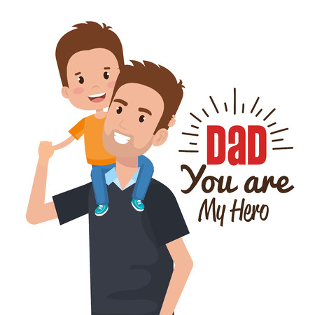 Illustration pour happy fathers day characters vector illustration design - image libre de droit