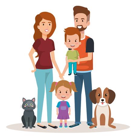 Illustrazione per cute family happy and pet characters vector illustration design - Immagini Royalty Free