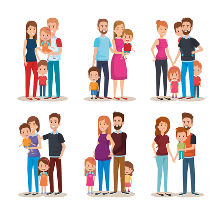 Foto de set cute family happy characters vector illustration design - Imagen libre de derechos