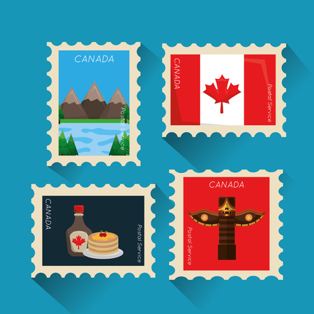 Illustration pour postage stamp canadian collection image vector illustration - image libre de droit