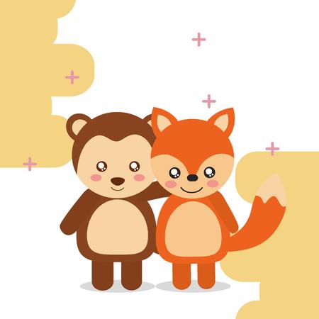 Illustration pour cute animal fox monkey colored background vector illustration - image libre de droit