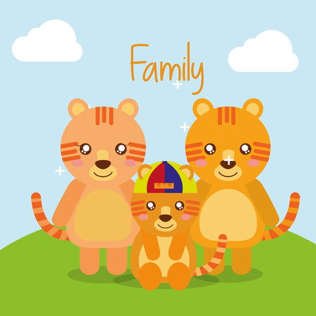 Illustration for cute animals tigers family in landscape field vector illustration - Royalty Free Image