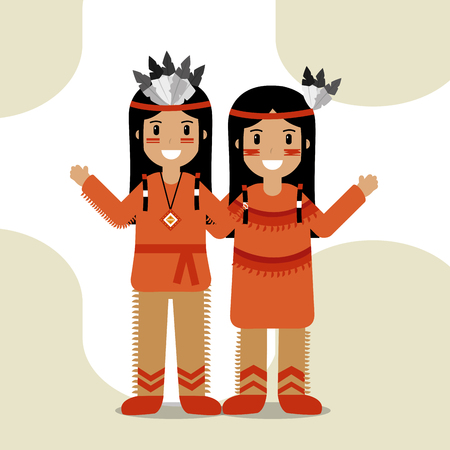 Illustration for couple native american in traditional costume and headdress feathers culture vector illustration - Royalty Free Image