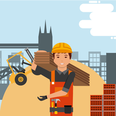 Illustration pour Worker with hard hat and construction forklift structure bricks vector illustration. - image libre de droit