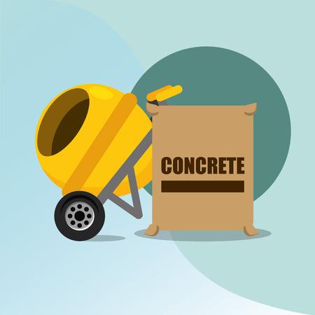 Illustration pour construction concrete mixer and bag tools equipment vector illustration - image libre de droit