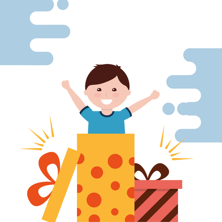 Illustration for cute little boy surprise gift box coming out vector illustration - Royalty Free Image