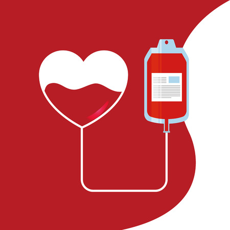 Illustration for Heart and bag blood donor transfusion for medical care illustration. - Royalty Free Image