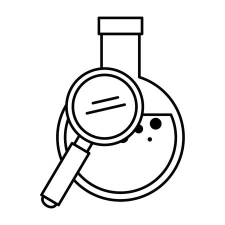 Ilustración de Tube test flask with magnifying glass vector illustration design - Imagen libre de derechos