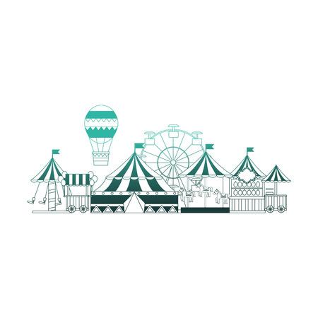 Illustration pour circus fair scene icons vector illustration design - image libre de droit