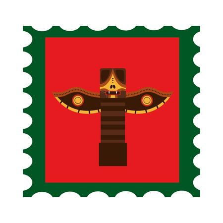 Illustration pour Canadian totem in postage stamp vector illustration design - image libre de droit