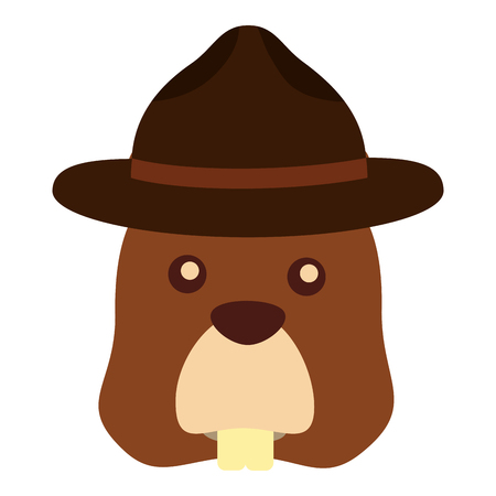 Illustrazione per beaver with hat character vector illustration design - Immagini Royalty Free