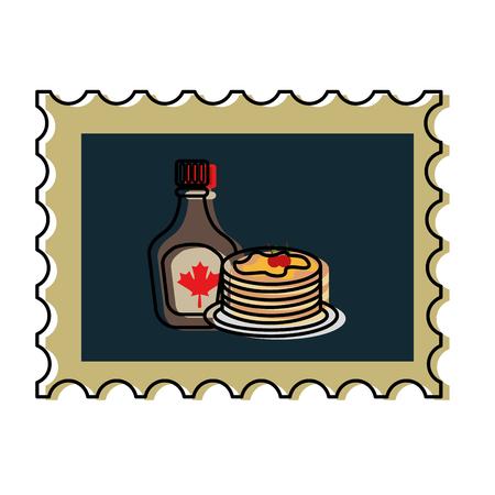 Illustration pour pancake and bottle syrup in postage stamp vector illustration design - image libre de droit