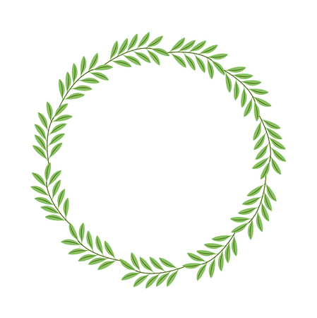 Illustration for wreath leafs decorative icon vector illustration design - Royalty Free Image