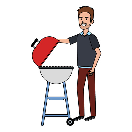 Illustration pour man using grill character vector illustration design - image libre de droit