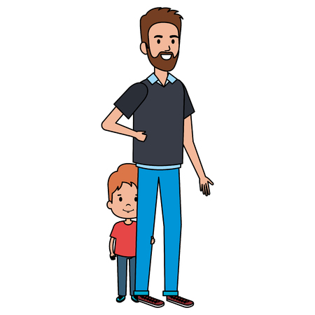 Illustration pour Father with son characters vector illustration design. - image libre de droit