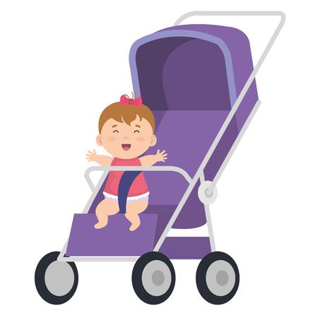 Illustration pour little baby in cart character vector illustration design - image libre de droit