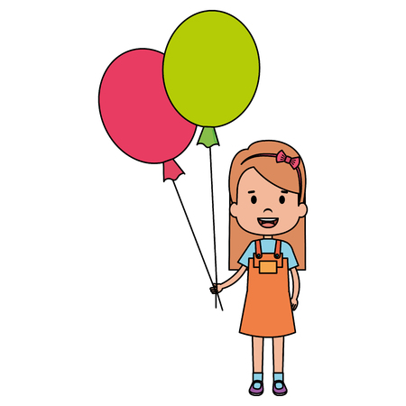Illustration pour happy little girl with balloons air character vector illustration design - image libre de droit