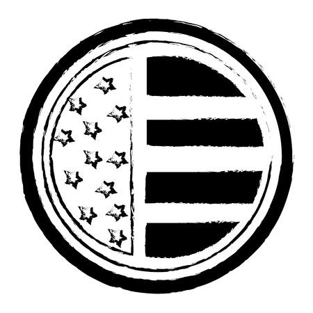 Ilustración de vintage label american flag ornament vector illustration - Imagen libre de derechos