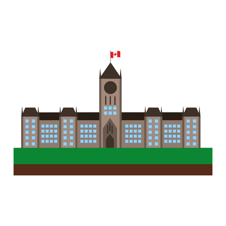 Illustration pour ottawa canada parliament building facade vector illustration design - image libre de droit