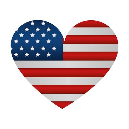 Illustration pour heart with united states of america flag vector illustration design - image libre de droit