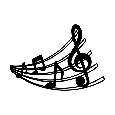 Ilustración de set of music notes and staff image vector illustration - Imagen libre de derechos