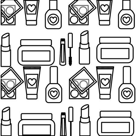 Photo for set make up products pattern background vector illustration design - Royalty Free Image