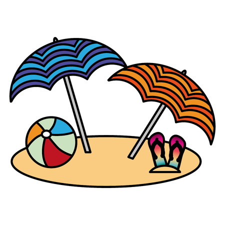 Illustration for Beach two umbrella ball and flip flops vector illustration - Royalty Free Image