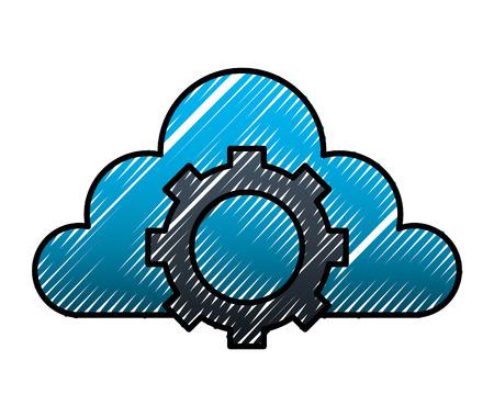 Illustration pour Cloud storage gear work internet data vector illustration. - image libre de droit