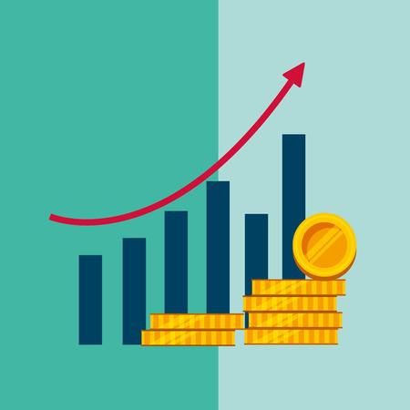 Ilustración de statistics bar graph growth arrow stack coins money vector illustration - Imagen libre de derechos
