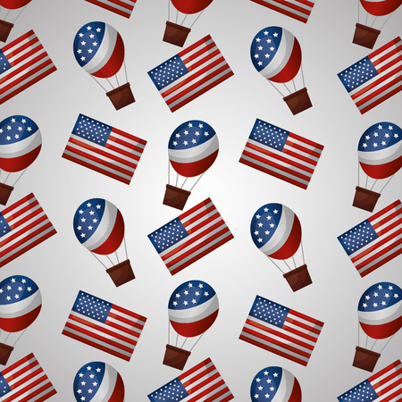 Illustration pour american independence day usa hot air balloons flags white background vector illustration - image libre de droit