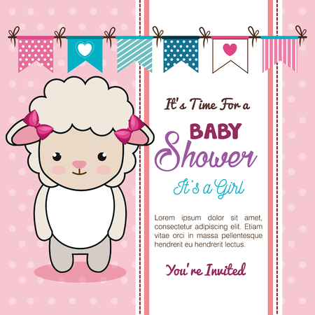 Ilustración de baby shower invitation with stuffed animal vector illustration design - Imagen libre de derechos