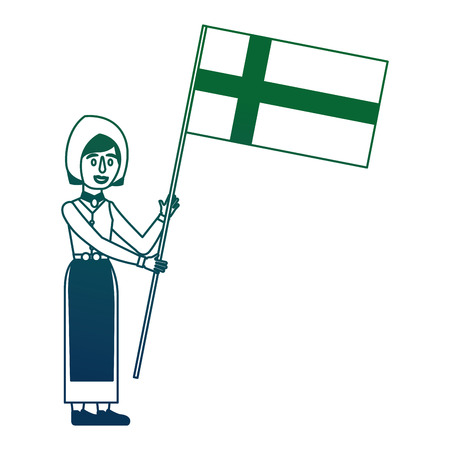 Illustration pour Swedish woman with flag character icon vector illustration design - image libre de droit