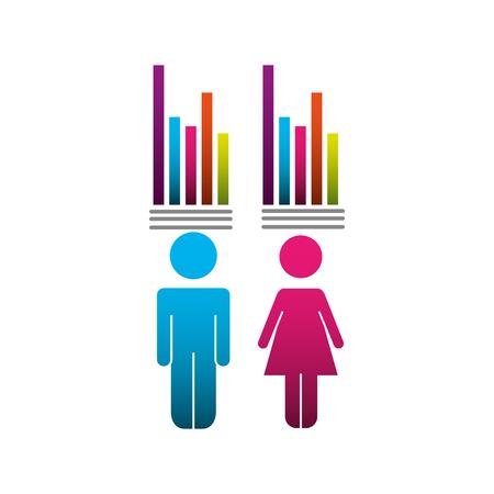 Ilustración de couple pictogram with bars statistics vector illustration design - Imagen libre de derechos