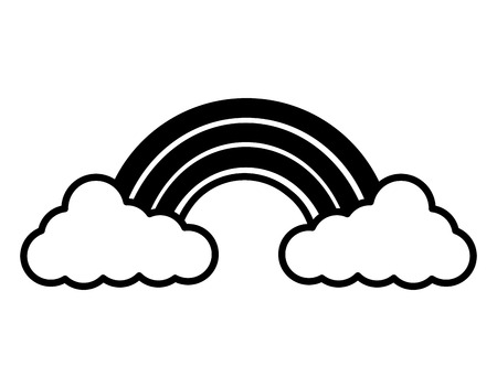 Illustration for cloud weather climate with rainbow vector illustration design - Royalty Free Image