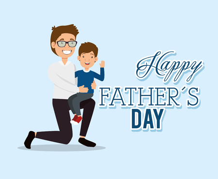 Illustration for best father with son characters vector illustration design - Royalty Free Image
